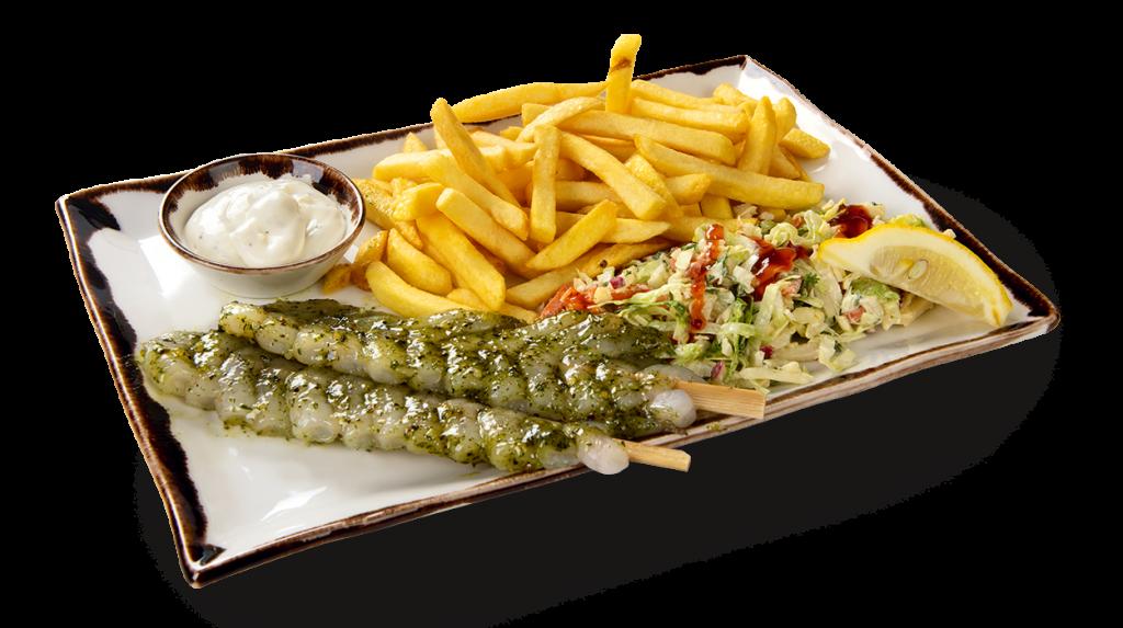 Vishandel Visscher Seafood Zwolle vis visspecialiteiten Menu Garnalen spies
